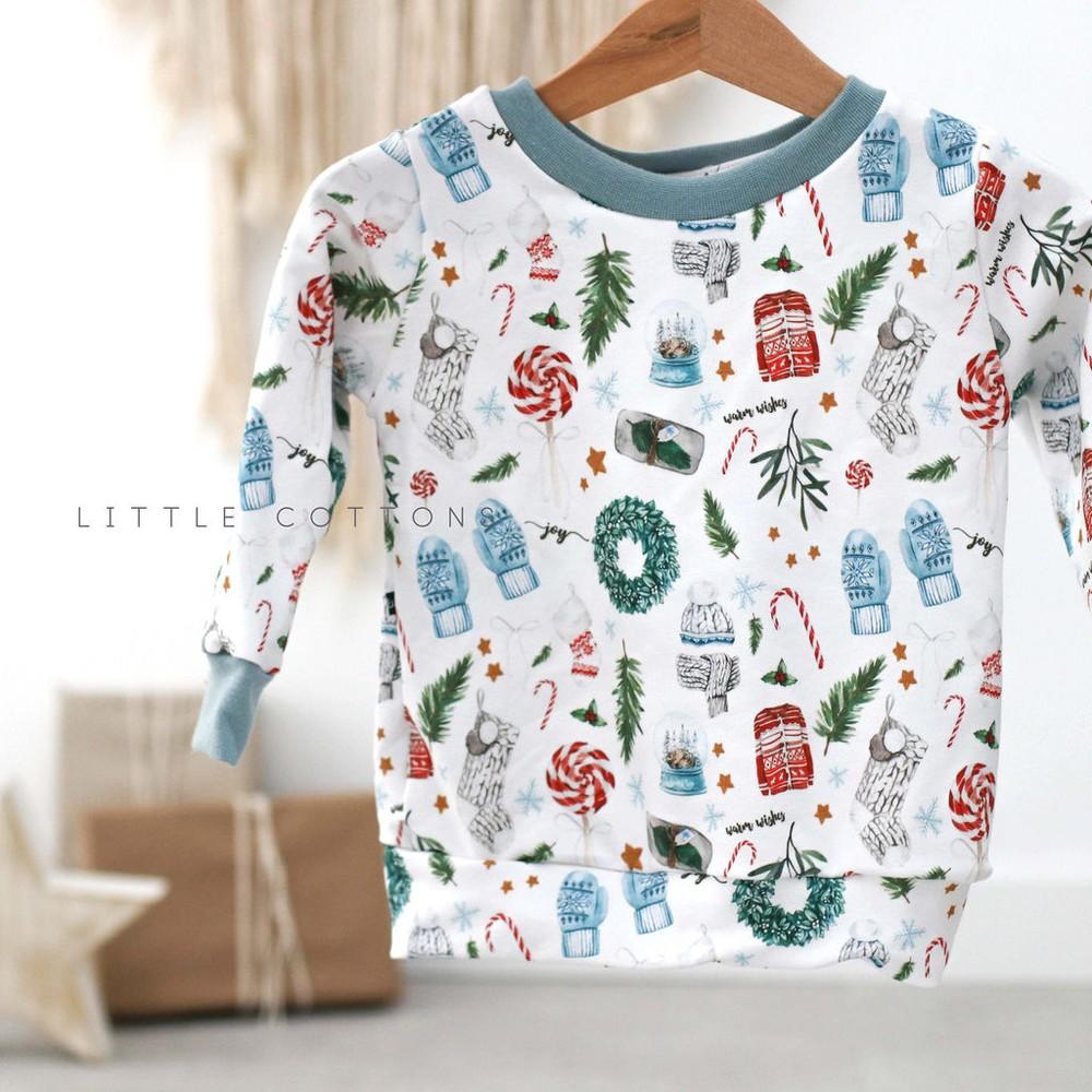 Μακρυμάνικη λευκή μπλούζα με Χριστουγεννιάτικα γκι - Little Cottons