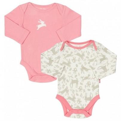 Σετ δύο μακρυμάνικα φορμάκια ροζ με λαγουδάκι και λευκό με γκρι ζωάκια του δάσους- Kite