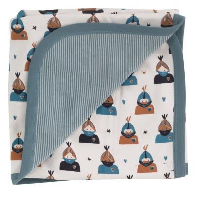 Απαλή κουβερτούλα διπλής όψης με ιππότες & ριγέ - 72 x 70 εκ- Pigeon Organics