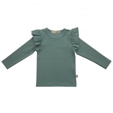 Μακρυμάνικο μπλουζάκι με βολάν dusty πράσινο - Julie Dausell