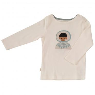 Μακρυμάνικο λευκό μπλουζάκι με Εσκιμώο σε γαλάζιο περίγραμμα- Pigeon Organics
