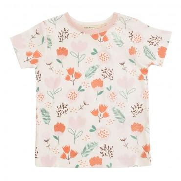 Κοντομάνικο λευκό - ροζ μπλουζάκι με λουλουδάκια- Pigeon Organics