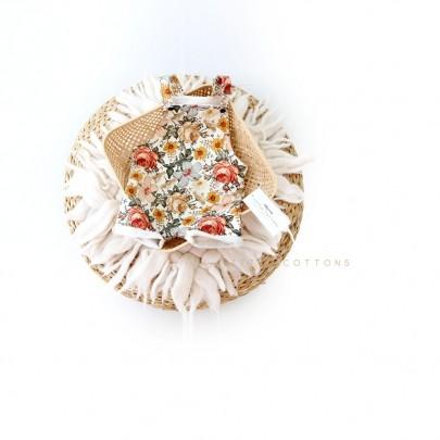 Χειροποίητη λευκή σαλοπέτα με λουλούδια Sunny Garden από οργανικό βαμβάκι- Little Cottons