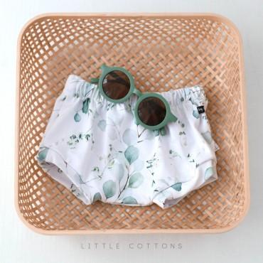 Χειροποίητο λευκό φλοράλ σορτσάκι με φύλλα ευκάλυπτου - Little Cottons