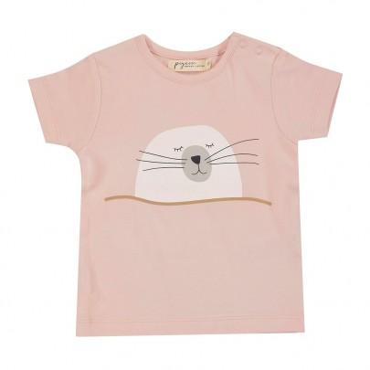 Κοντομάνικο ροζ μπλουζάκι με φωκίτσα- Pigeon Organics