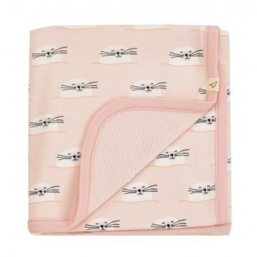 Απαλή κουβερτούλα διπλής όψης με φωκίτσες σε ροζ χρώμα & ριγέ - 72 x 72 εκ- Pigeon Organics