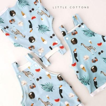 Χειροποίητη μπλε σαλοπέτα tropical από οργανικό βαμβάκι- Little Cottons