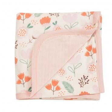Απαλή κουβερτούλα διπλής όψης με λουλούδια σε ροζ χρώμα & ριγέ - 72 x 72 εκ- Pigeon Organics