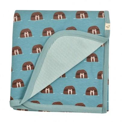 Απαλή μπλε κουβερτούλα διπλής όψης με θαλάσσιους ίππους - 72 x 72 εκ- Pigeon Organics