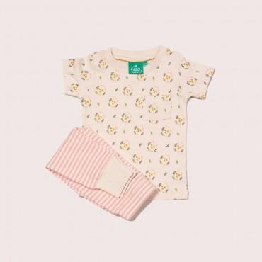 Σετ κοντομάνικο μπλουζάκι με λουλουδάκια και ριγέ ροζ - λευκό παντελονάκι από οργανικό βαμβάκι  - Little Green Radicals