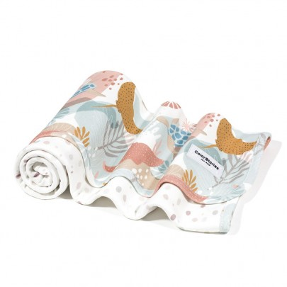 Ανοιξιάτικη βαμβακερή λευκή κουβερτούλα διπλής όψης με σχέδιο κοράλια- 75 x 75 εκ- Color Stories