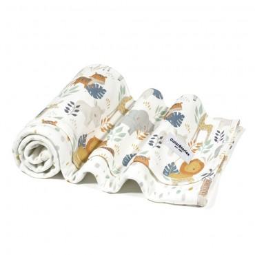 Ανοιξιάτικη βαμβακερή λευκή κουβερτούλα διπλής όψης με σχέδιο Safari- 75 x 75 εκ- Color Stories