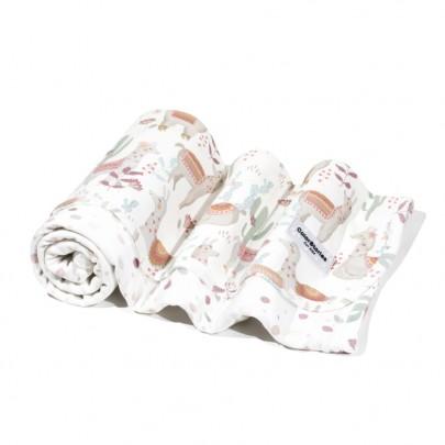 Ανοιξιάτικη βαμβακερή λευκή κουβερτούλα διπλής όψης με Llama- 75 x 75 εκ- Color Stories
