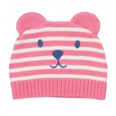 Πλεκτό σκουφάκι ροζ ριγέ με σχέδιο αρκουδάκι- Kite