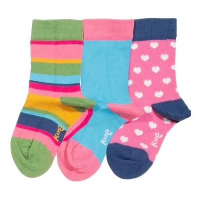Σετ 3 πλεκτά καλτσάκια σε χαρούμενα χρώματα με σχέδιο καρδούλες και ριγέ  - Kite