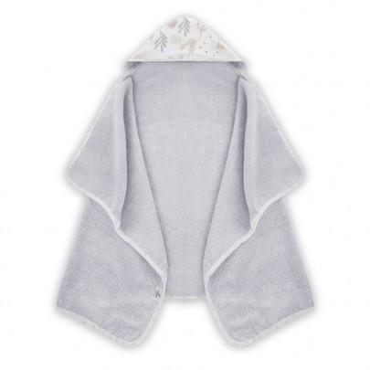 Γκρι βρεφική πετσετούλα με κουκούλα με σχεδιάκι λαγουδάκια 70 x 125εκ - Color Stories
