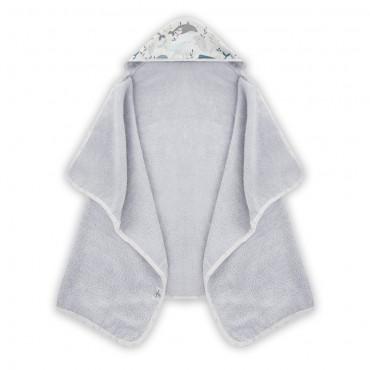 Γκρι βρεφική πετσετούλα με κουκούλα με σχέδιο φαλαινίτσες 70 x 125εκ - Color Stories