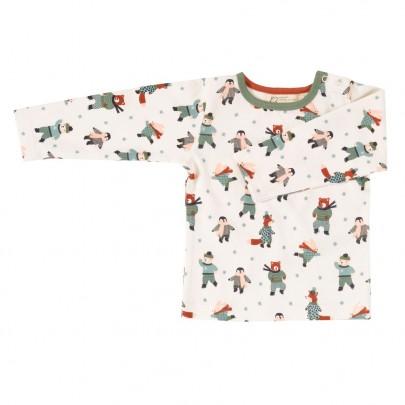 Μακρυμάνικο λευκό μπλουζάκι με ζωάκια που κάνουν πατινάζ- Pigeon Organics