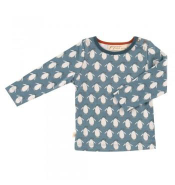 Μακρυμάνικο τυρκουαζ μπλουζάκι με πιγκουινάκια - Pigeon Organics