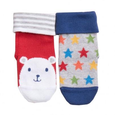 Σετ 2 πλεκτά καλτσάκια με σχέδιο αρκουδάκια και πολύχρωμα αστέρια - Kite