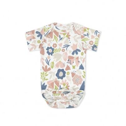 Κοντομάνικο λευκό φορμάκι για νεογέννητο με retro λουλούδια Meadow 62cm- Color Stories