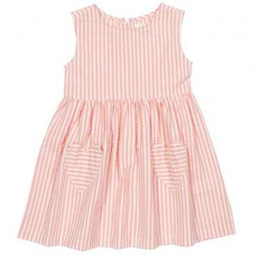 Ριγέ ροζ αμάνικο φορεματάκι με σχέδιο καρδούλες - Kite