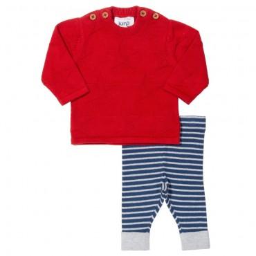 Πλεκτό σετ μπλουζάκι κόκκινο με αστέρι και παντελονάκι μπλε ριγέ από οργανικό βαμβάκι- Kite