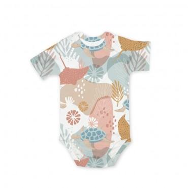 Κοντομάνικο λευκό φορμάκι για νεογέννητο με κοράλια 62cm- Color Stories