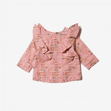 Φλοράλ ροζ μπλουζάκι Above the Clouds - Little Green Radicals