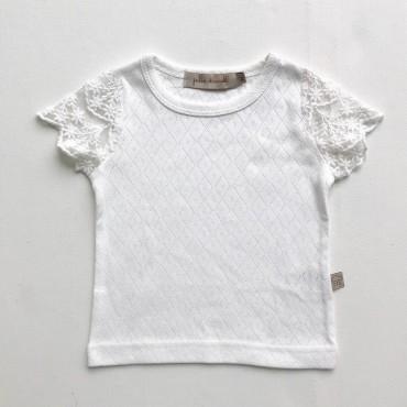 Κοντομάνικο μπλουζάκι με δαντέλα στα μανίκια σε λευκό χρώμα - Julie Dausell