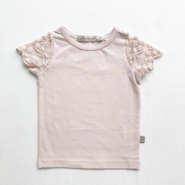 Κοντομάνικο μπλουζάκι με δαντέλα στα μανίκια σε ροζ χρώμα - Julie Dausell