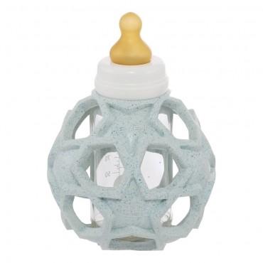 Γυάλινο μπουκάλι - μπιμπερό με γαλάζιο κάλλυμα ασφαλείας σε σχήμα μπάλας από φυσικό καουτσούκ 120ml - HEVEA